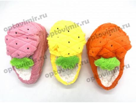Тапочки женские Лиана следочки ананасы с открытой пяткой W-136-1