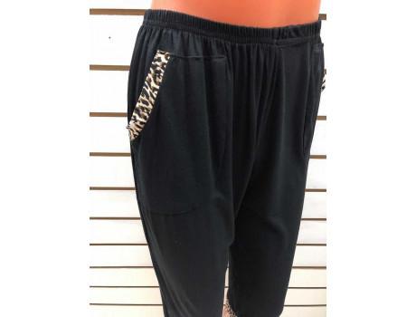 Бриджи женские черные с леопардовыми вставками на карманах Classic Fashion А6-3