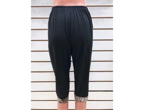 Бриджи женские черные с леопардовыми вставками на карманах Classic Fashion А6-1