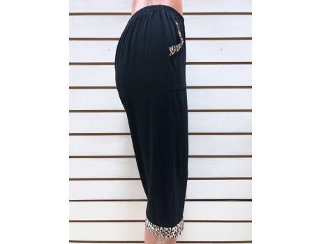 Бриджи женские черные с леопардовыми вставками на карманах Classic Fashion А6-2