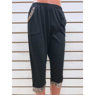 Бриджи женские черные с леопардовыми вставками на карманах Classic Fashion А6 оптом