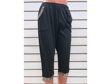 Бриджи женские черные с леопардовыми вставками на карманах Classic Fashion А6
