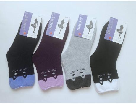 Женские носки махровые ослабленная резинка DMDBS кошки В812