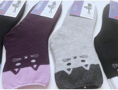 Женские носки махровые ослабленная резинка DMDBS кошки В812 -1