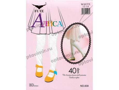 Колготки детские белые Fute Алиса 839 ромбик сердечки