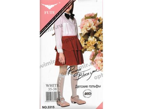 Гольфы детские Fute белые 40 den боковой рис. цветы 3315