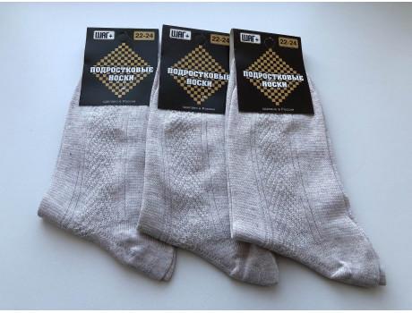 Носки для подростковые серые из льна   ШАГ+  П-01