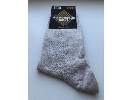 Носки для подростковые серые из льна   ШАГ+  П-01-1