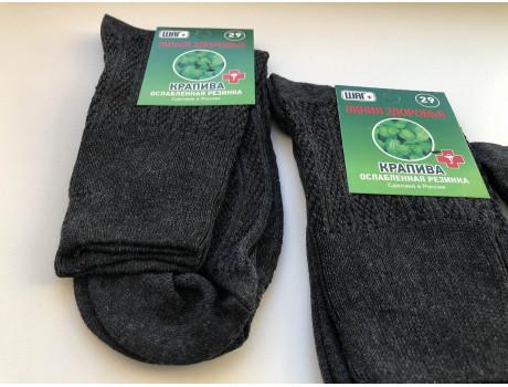Носки мужские тонкие ослабленная резинка крапива ШАГ+ К30 -1