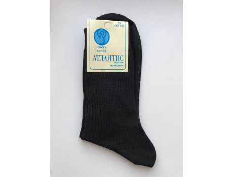Носки мужские Атлантис черные в рубчик 100 хб Г1-1
