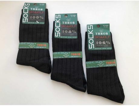 Носки мужские черные рубчик THROB 9885 с двойной пяткой и носком