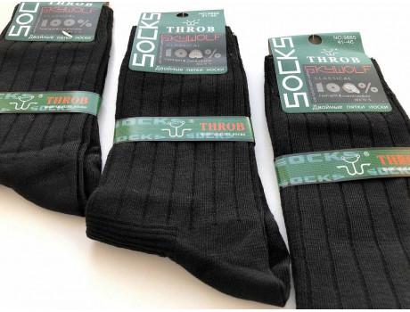 Носки мужские черные рубчик THROB 9885 с двойной пяткой и носком-1