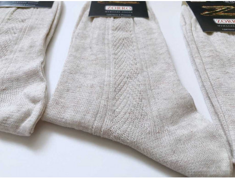 Носки мужские высокие ШАГ+ лен 100%  М3-1