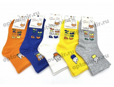 Носки детские цветные зайчики с надписями на стопе 0104