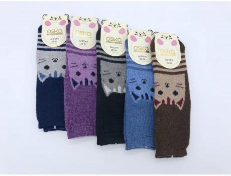 Носки детские из ангорки с красивыми  рисунками  кошка ОСКО С32-02