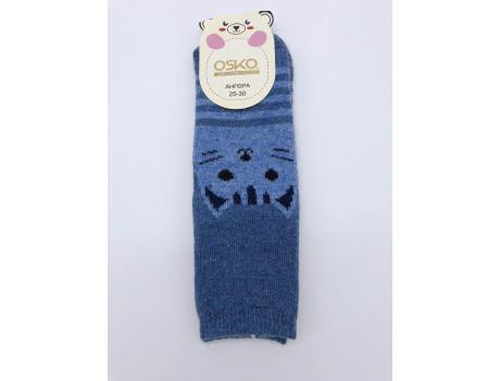 Носки детские из ангорки с красивыми  рисунками  кошка ОСКО С32-02 -1