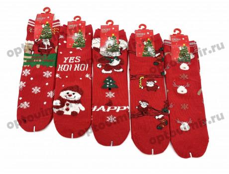 Носки детские Dmdbs новогодние с белыми пушистыми снежинками снеговиками оленями CD-023