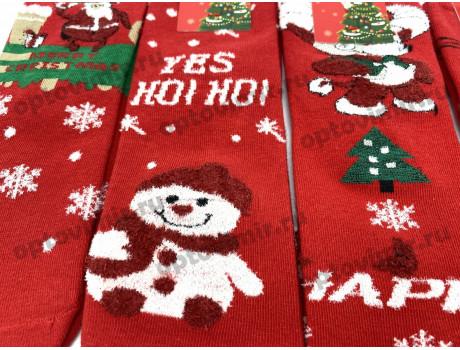 Носки детские Dmdbs новогодние с белыми пушистыми снежинками снеговиками оленями CD-023-1