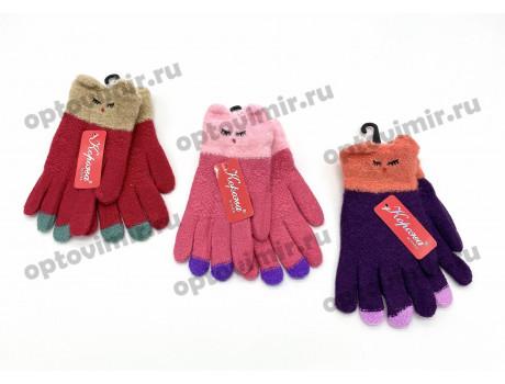 Перчатки детские Корона для девочек вязаные с мордочками 5802