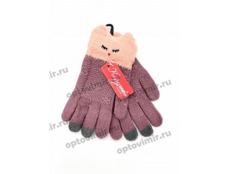 Перчатки детские Корона для девочек вязаные с мордочками 5802-1