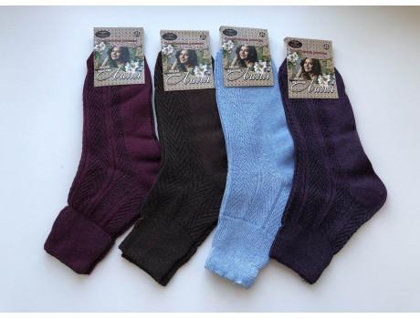 Носки женские цветные хлопок 100% лиля ослабленная резинка ШАГ+  Ж13