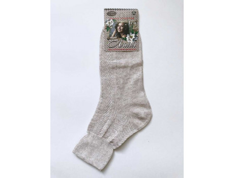 Носки женские ШАГ+ лиля ослабленная резинка 100% лен светлые Ж07-1