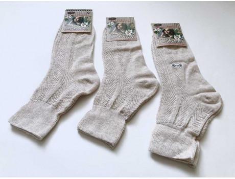 Носки женские ШАГ+ лиля ослабленная резинка 100% лен светлые Ж07