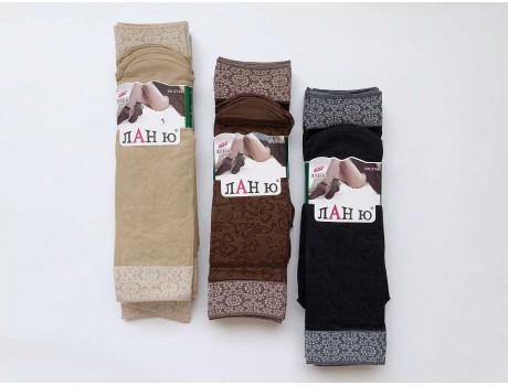 Носки женские капроновые плотные с широкой резинкой рис. цветочки 2225