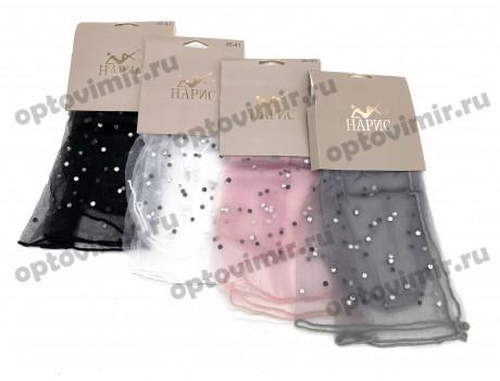 Носки женские Нарис капрон сеточка усыпаны камнями К221
