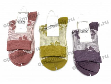 Носки женские Dmdbs цветные с белой нитью рис. цветочек BW-050