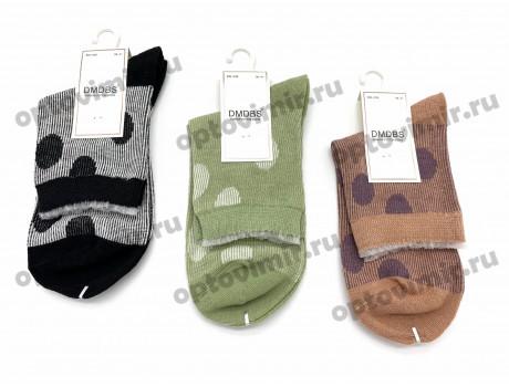 Носки женские Dmdbs хлопок двухцветные горошки BW-039