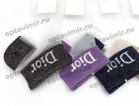 Носки женские Dmdbs капроновые белые с люрексом на носке пятке и резинке BL-232-1
