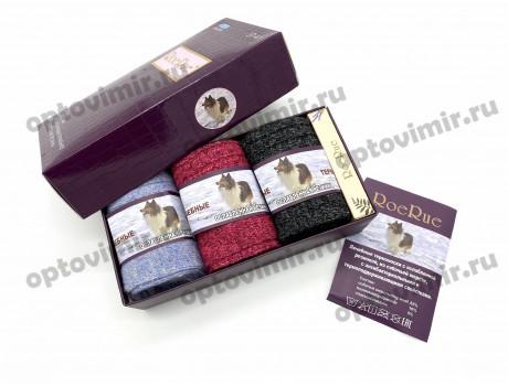 Носки женские RoeRue собачья шерсть в коробке 3 пары + мыло 2930