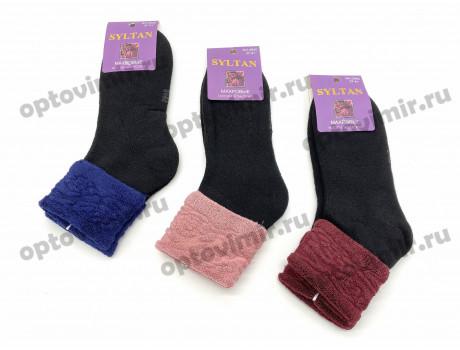 Носки женские Syltan махровые черные с цветным отворотом 2840