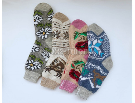 Носки женские шерсть 100% тамбовские разные узоры